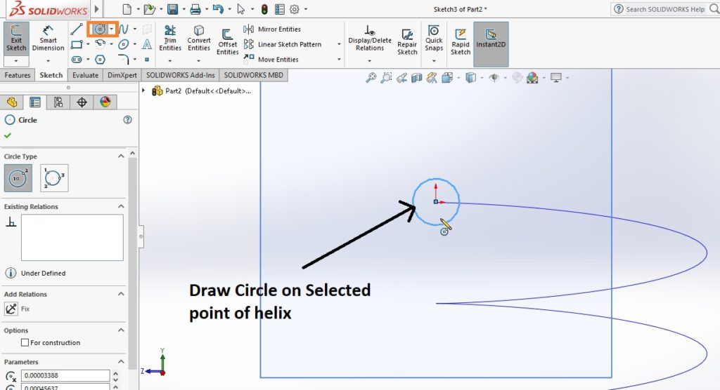 draw circle at the end of helix for applying sweep boss