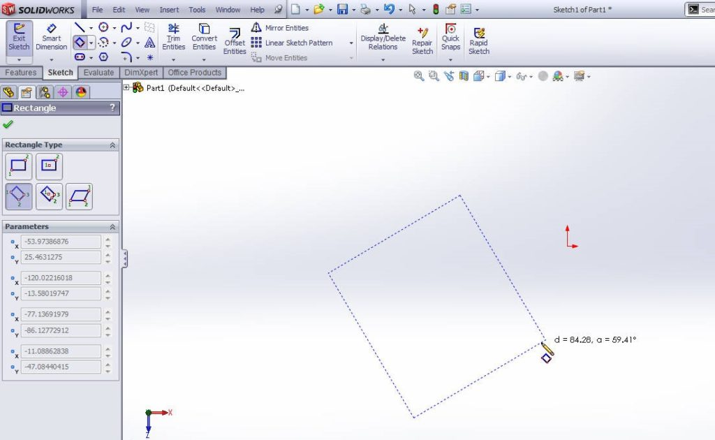 Solidworks-3-point-rectangle-drawing-tutorial-step-3