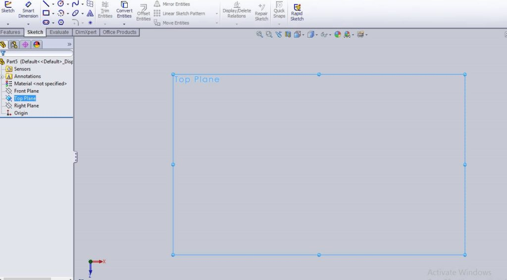 Solidworks linear sketch pattern tutorial create top plane