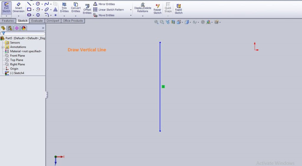 Solidworks linear sketch pattern tutorial draw vertical line for making parellel lines