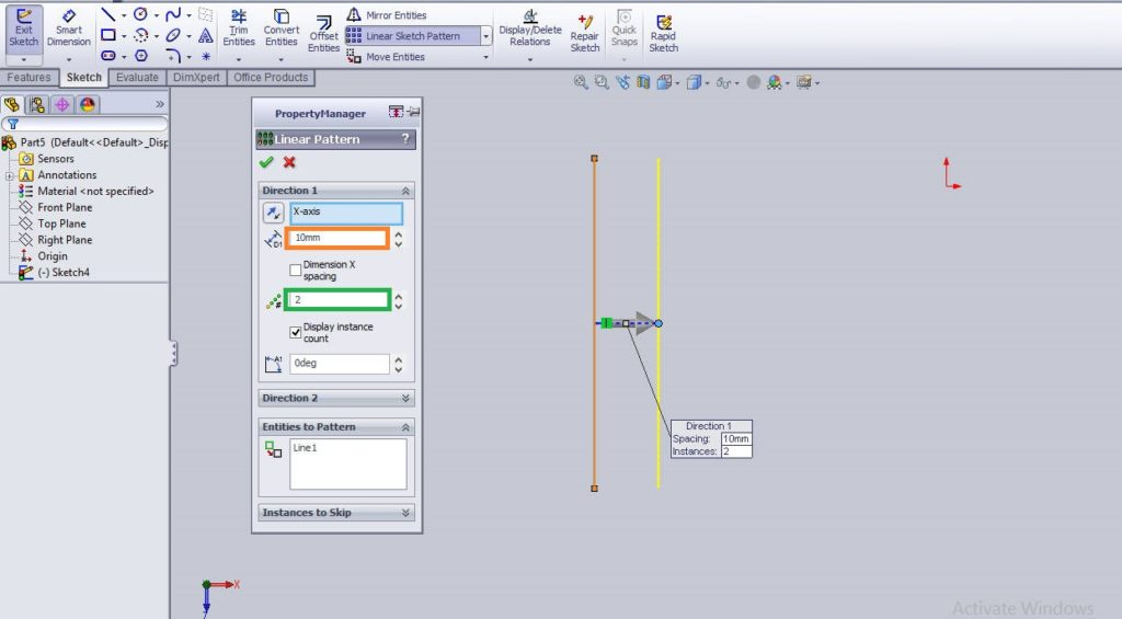 Solidworks linear sketch pattern tutorial eneter the sketch details in linear sketch patterns property manager box