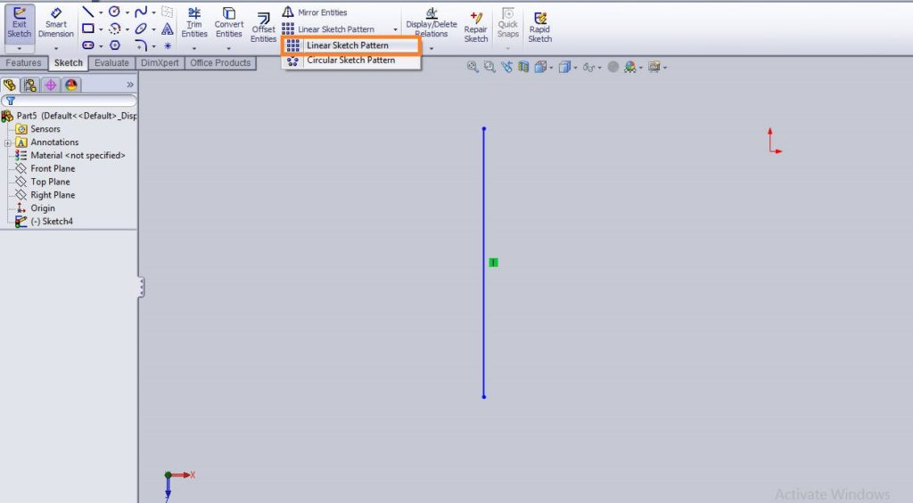 Solidworks linear sketch pattern tutorial select linear sketch pattern button form command manager
