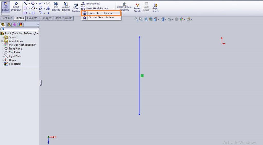 Solidworks linear sketch pattern tutorial select linear sketch pattern button form command manager