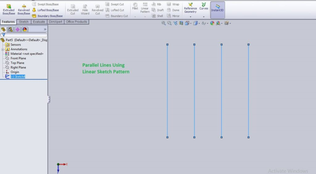 Solidworks linear sketch pattern tutorials final images