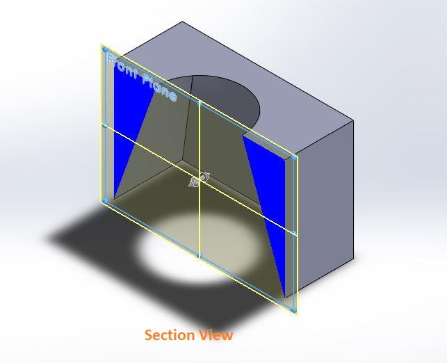 Solidworks loft cut features application final image side sectional view