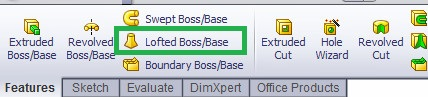 Solidworks loft cut located and marked in features command manager