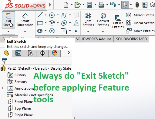 exit sktech option before applying feature tools
