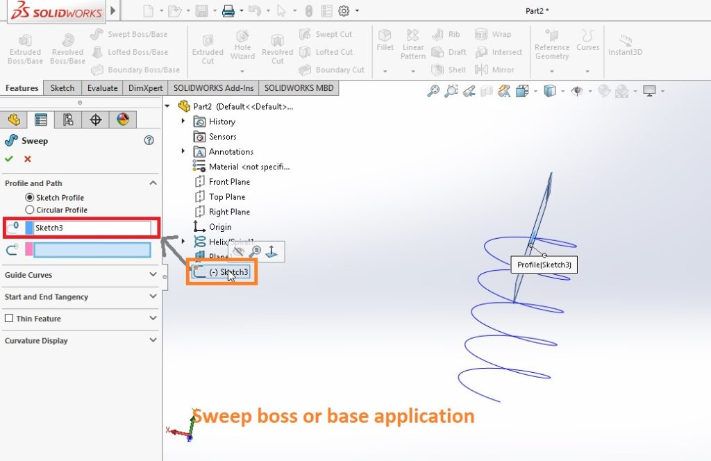 select sketch profile for sweeping