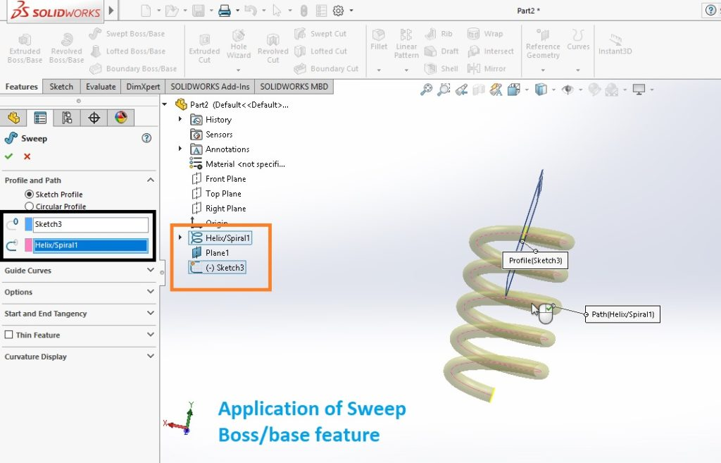 select sweep path line for sweeping action solidworks