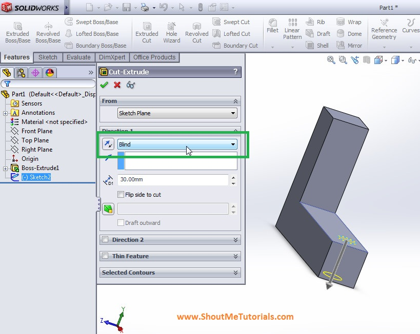 apply extrude cut to create hole on the model step 3 - SolidWorks Mirror Feature Tool and Applications_SolidWorks Tutorial 37