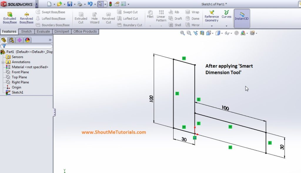 apply smart dimension tool to give diemsions to sketch image 3 step 2 1024x590 - SolidWorks Mirror Feature Tool and Applications_SolidWorks Tutorial 37