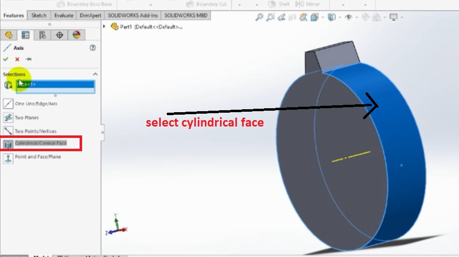 axis feature to make axis on cylindrical face how to make spur gear 3d model in solidworks