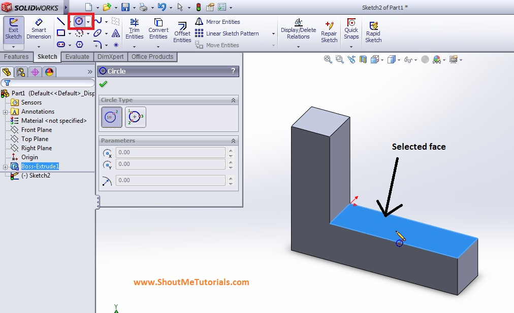 center circle sketch tool for making hole on horizontal surface imge 7 step 3 - SolidWorks Mirror Feature Tool and Applications_SolidWorks Tutorial 37