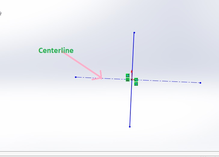centerline sketch on solidworks graphics area interface