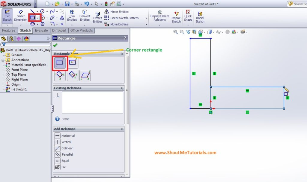 create corner rectangle horizontally using sketch tool image 2 step 2 1024x606 - SolidWorks Mirror Feature Tool and Applications_SolidWorks Tutorial 37
