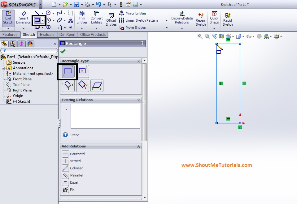 create corner rectangle using sketch tool vertically image 1 step 2 - SolidWorks Mirror Feature Tool and Applications_SolidWorks Tutorial 37