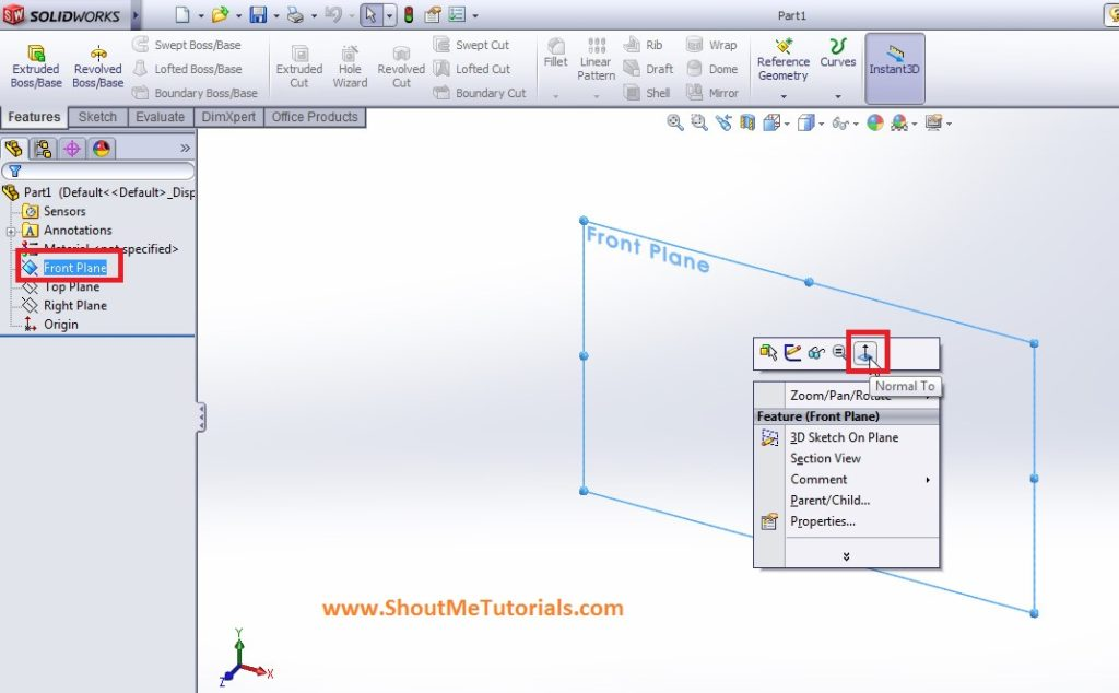 create part file with right plane slected