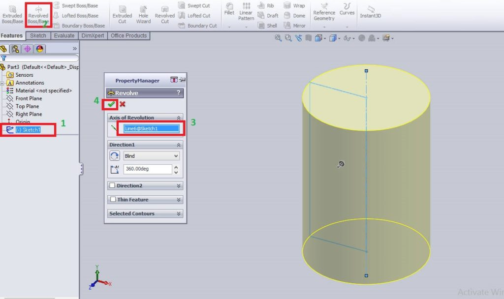 creating solid cylinder using solidworks revolved boss or base - how to use solidworks revolve cut feature tutorials