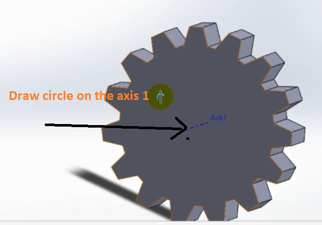 draw axis on the circle axis 1 to create hole how to make spur gear 3d model in solidworks