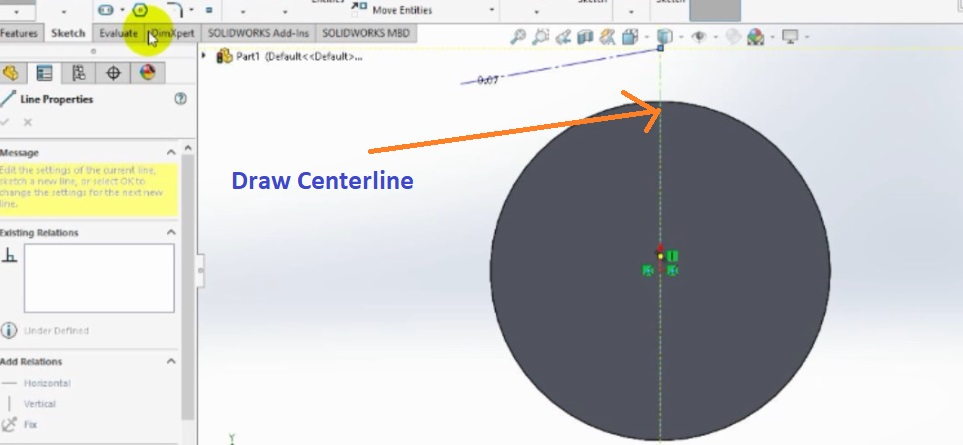 draw centerline across the cylinder face through orgin how to make spur gear 3d model in solidworks