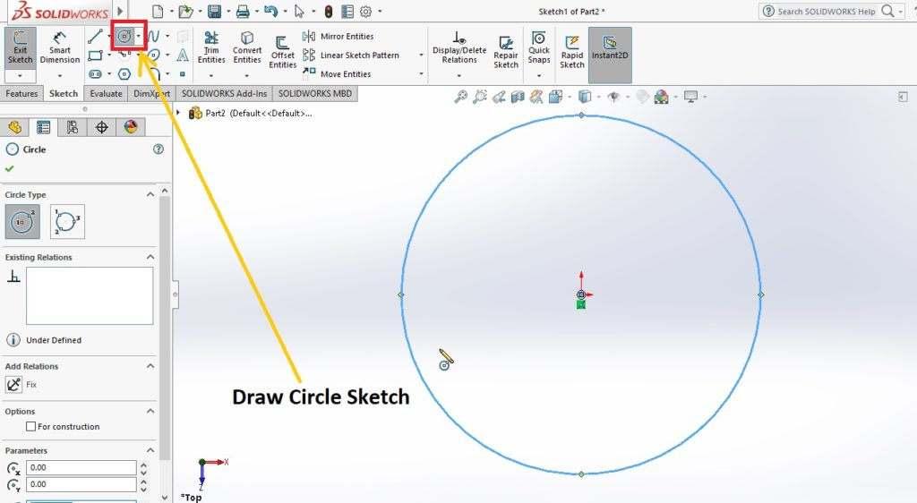 draw circle sktech using circle sktech tool from sktech command manager solidworks spring tutorial