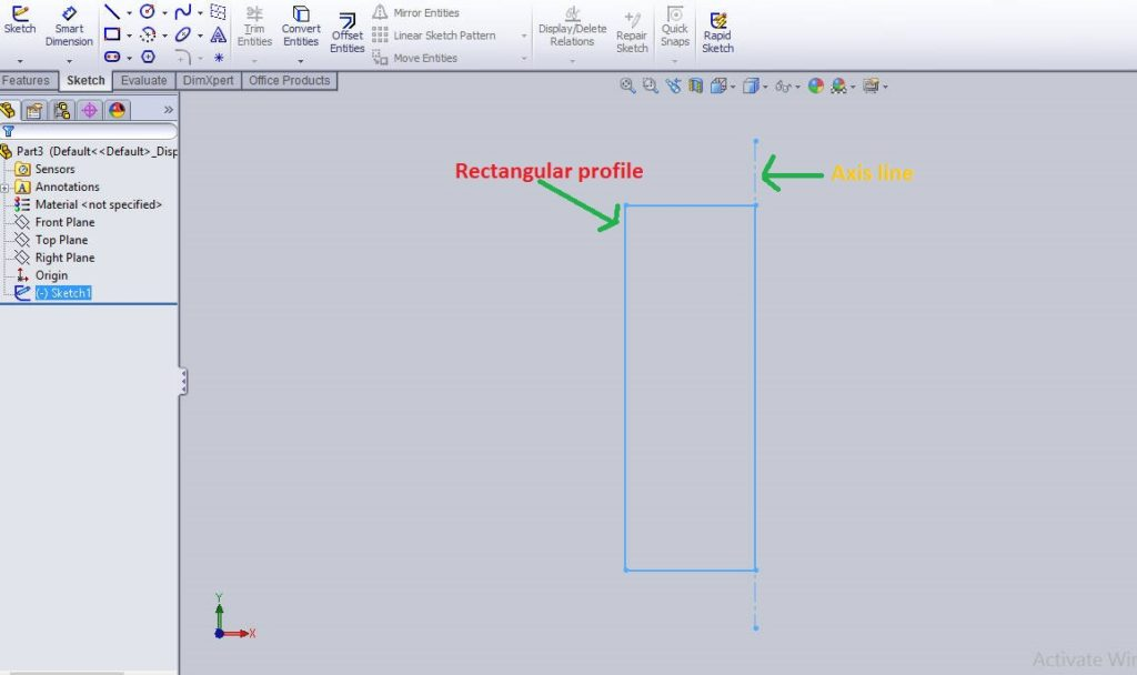 draw reactangular profile for revolve boss - how to use solidworks revolve cut feature tutorials