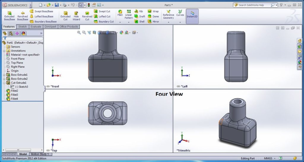 how to use solidworks view orienations -four view tool screenshots-12