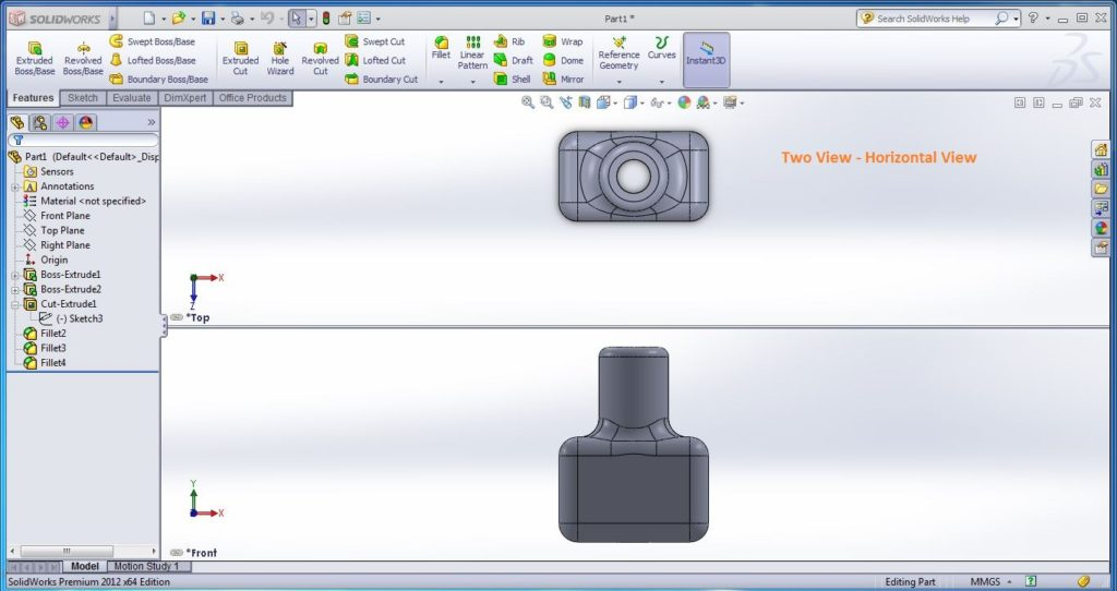 how to use solidworks view orienations -two view horizontal view tool screenshots-10