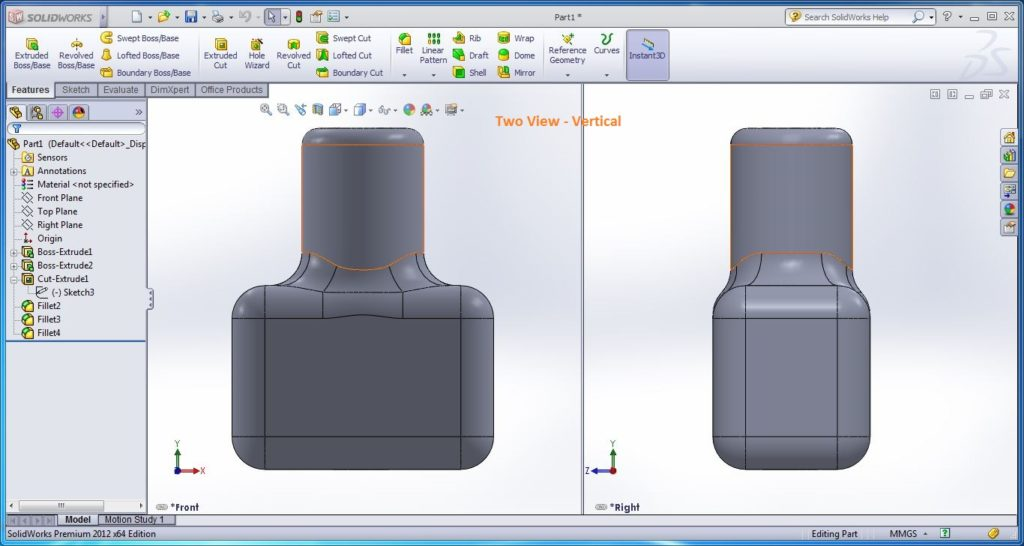 how to use solidworks view orienations -two view vertical view tool screenshots-11