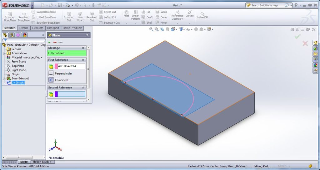 how to use swept cut tool-apply solid work swept cut - drawing open or closed path for swept cutting-first refernce plane creation -solidworks tutorial- step -4-3