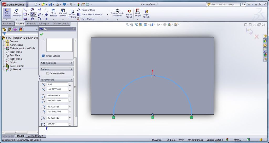 how to use swept cut tool-apply solid work swept cut - drwaing open or closed path for swept cutting -darw center arc on the surface - solidworks tutorial- step -4-2