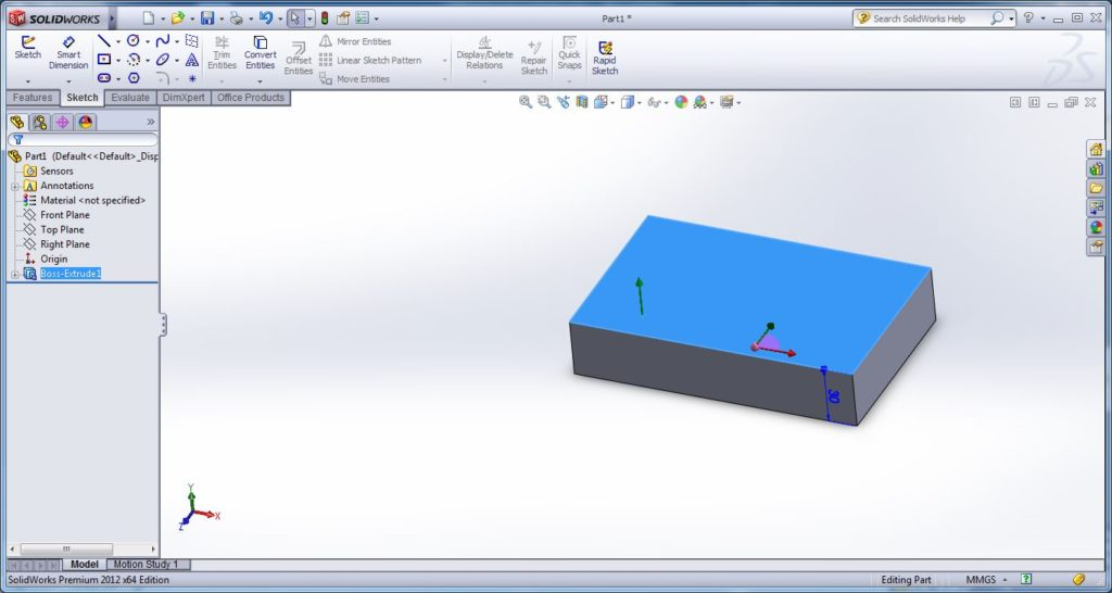 how to use swept cut tool-apply solid work swept cut - drwaing open or closed path for swept cutting -solidworks tutorial- step -4-1