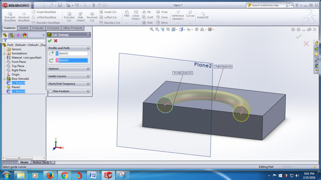 how to use swept cut tool-apply solid work swept cut - select the path as center arc-solidworks tutorial- step -4-7