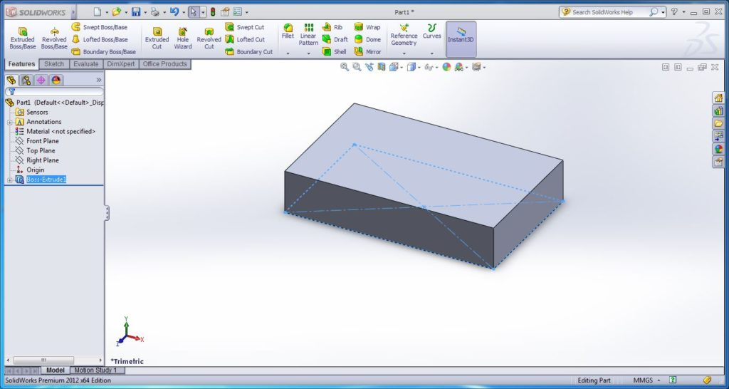 how to use swept cut tool- rectanglaur box id ready 30 mm height-solid works tutorial- step -3-2