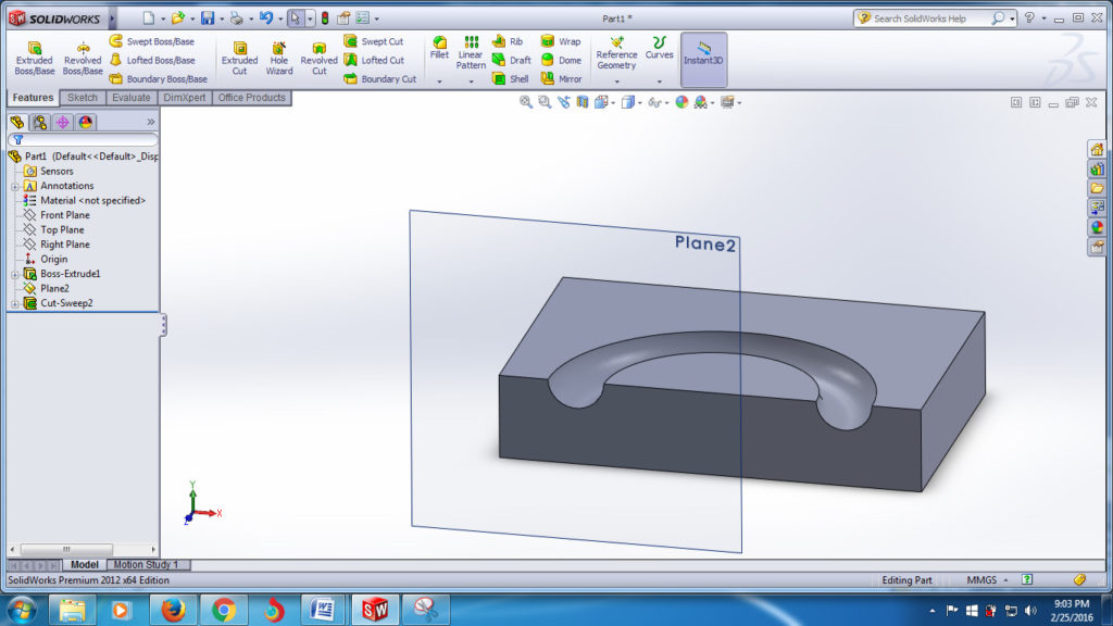 how to use swept cut tool-solid works swept cutted final image-solidworks tutorials- step -4-8