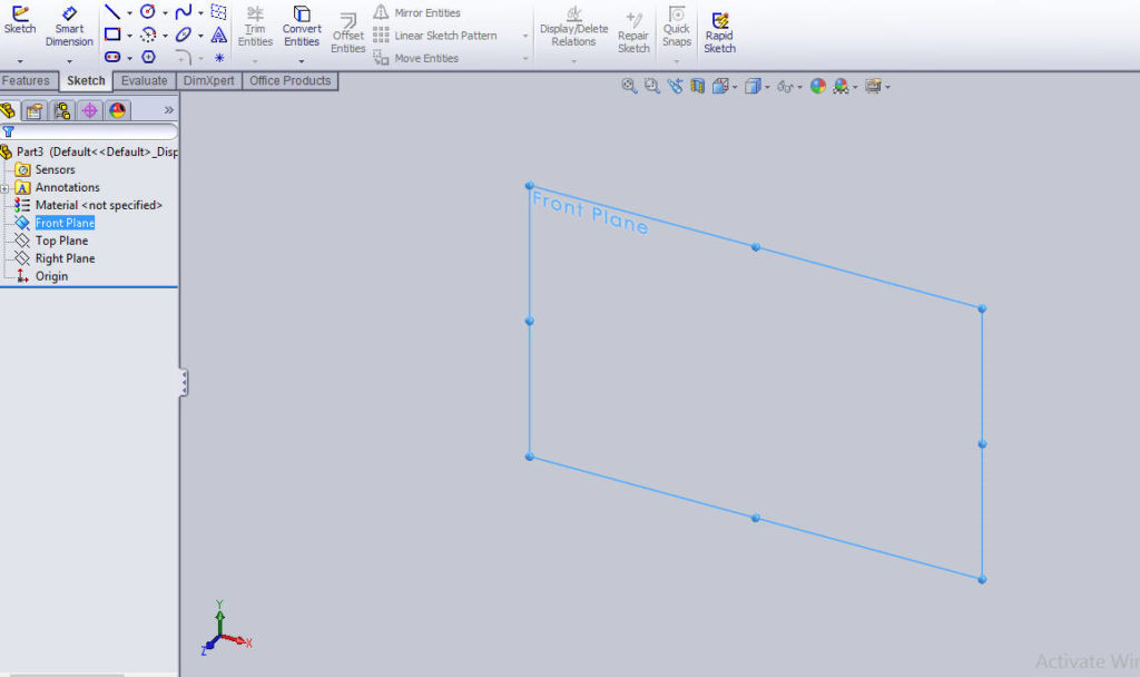 select-front-plane-in-new-part-file-how-to-use-solidworks-revolved-cut-feature