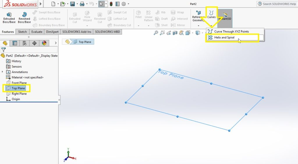 select helix or spiral curves from curve feature command manager solidworks spring tutorial