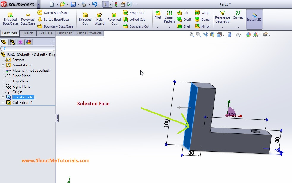 selected face for creating solidworks mirror on this reference