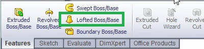 solid works loft boss or base feature tool located from command manager