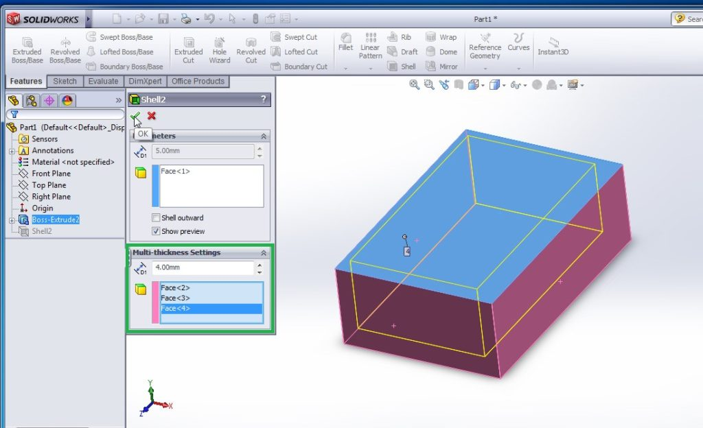 solidworks shell tutorial faces selection and set values applied