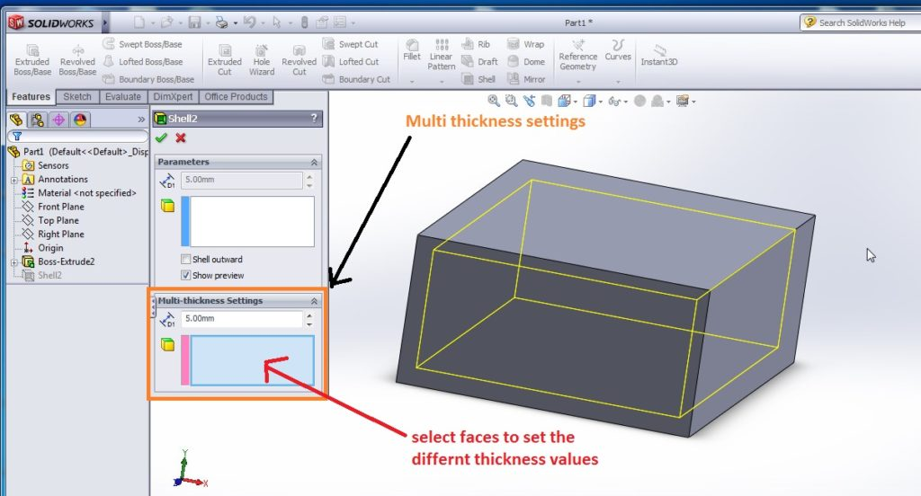 solidworks shell tutorial slectvfaces to set the differnt thicknes values for your shell