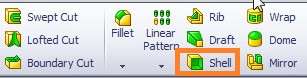 solidworks shell tutorials SELECT SHELL FEATURE TOOL FROM FEATURES COMMAND MANAGER SECTION step 3-1