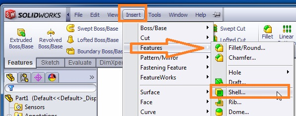 solidworks shell tutorials SELECT SHELL FEATURE TOOL FROM insert menubar features section step 3-2