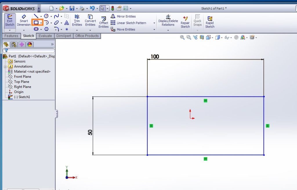 solidworks shell tutorials how to use shell feature tool draw rectangular sketch profiel step 2-1