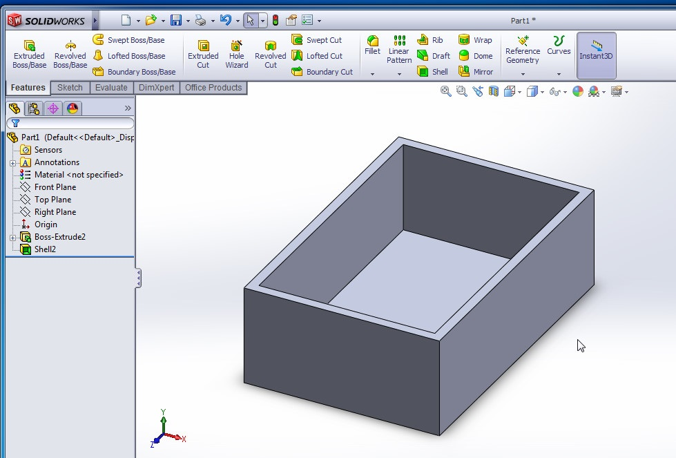 solidworks shell tutorials rectangular shell final image