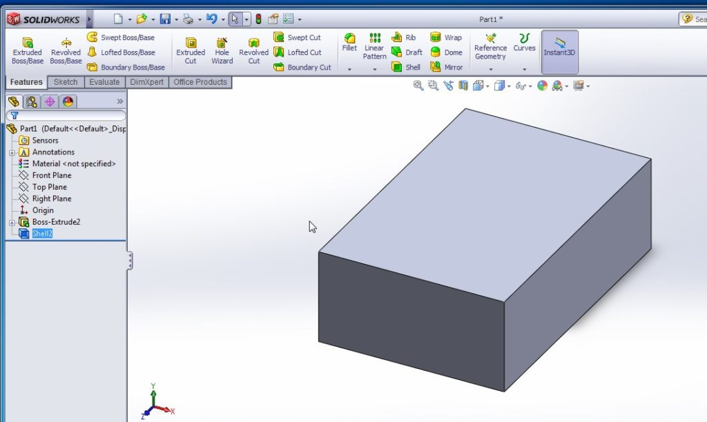 solidworks shell tutorials rectangular shell inward model final image