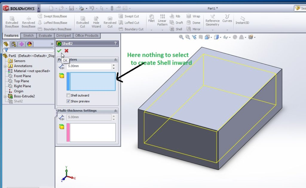 solidworks shell tutorials rectangular shell inward model preview