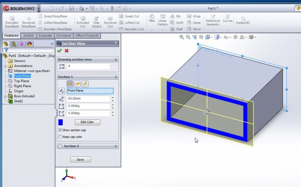 solidworks shell tutorials rectangular shell inward model section view