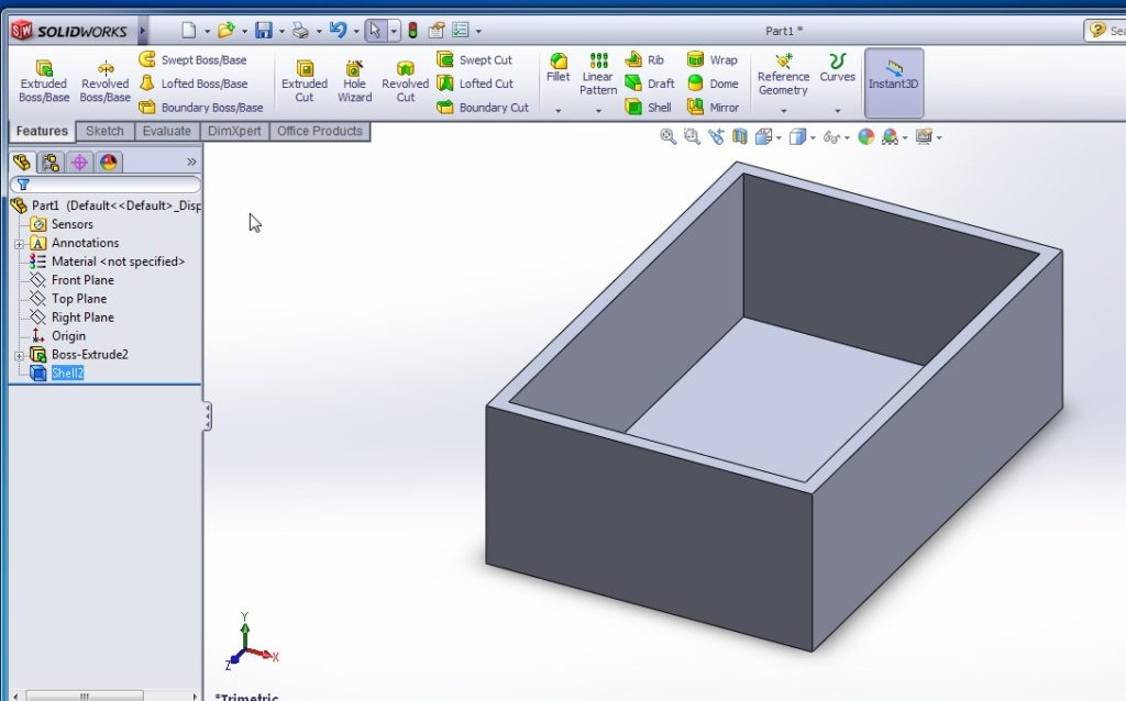 solidworks shell tutorials rectangular shell outward final image
