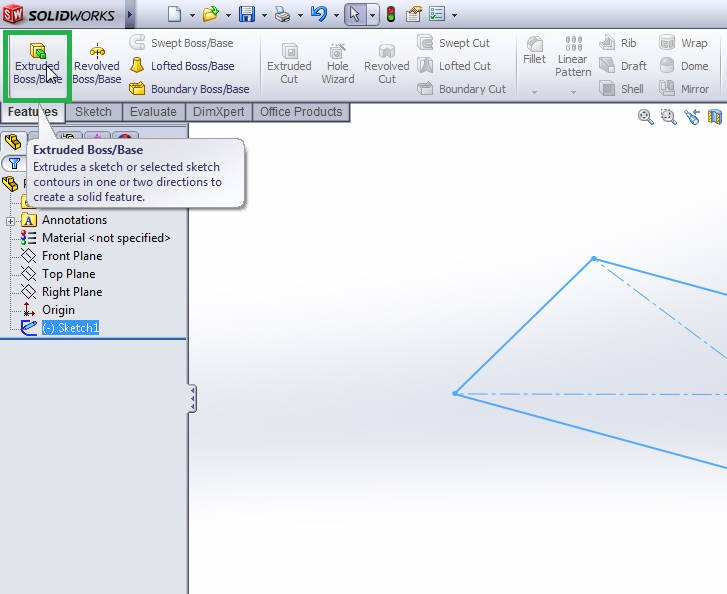 solidworks 2012 extrude boss tutorial-extrude boss from command manager-step-4